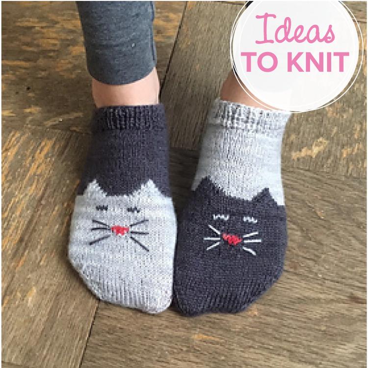 Socks On Saturday Yinyang Kitty Ankle Socks Ewe Ewe Yarns