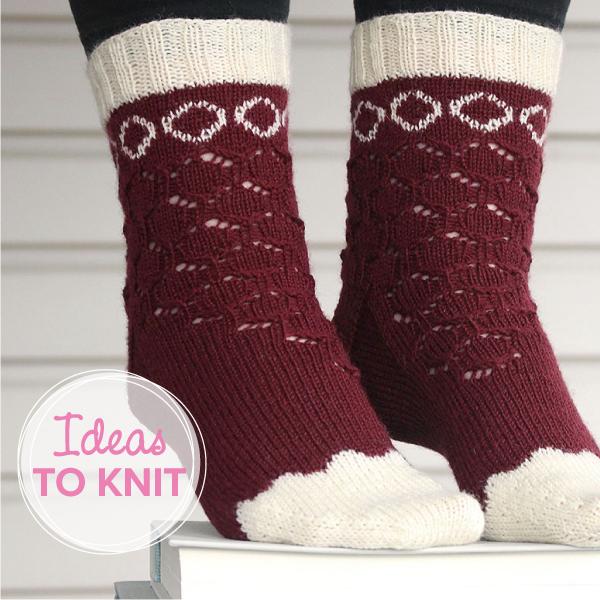 Velvet Wreath  socks designed with Fluffy Fingering yarn
