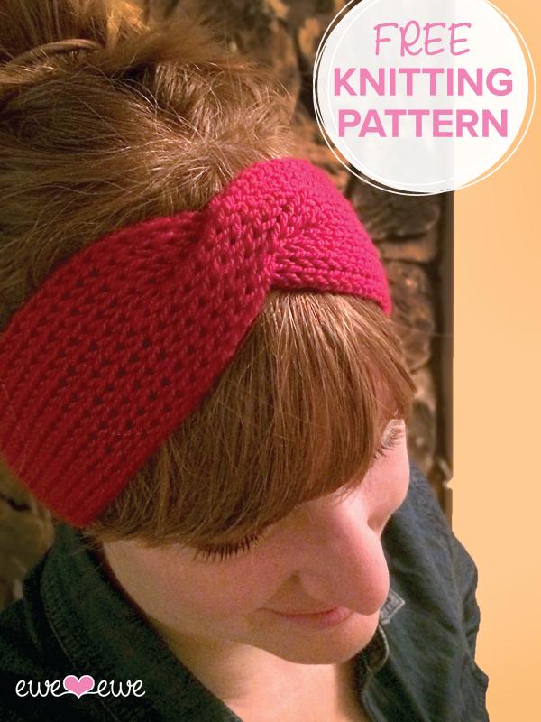 Hot Mess Headband FREE knitting pattern using 1 ball of Wooly Worsted yarn by Ewe Ewe