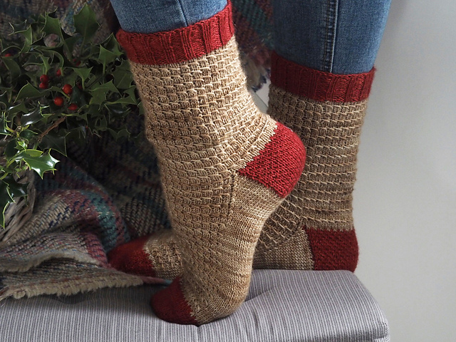 Red Robin Socks  knitting pattern designed by Helen Stewart
