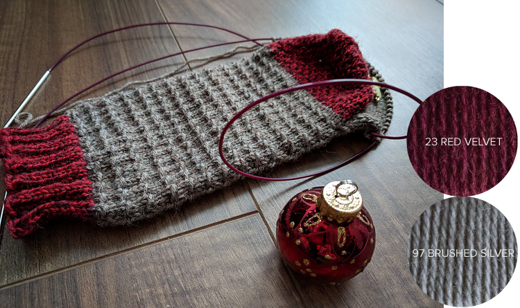 WillowGroveKnits  made a beautiful pair in a gray and rich red combo