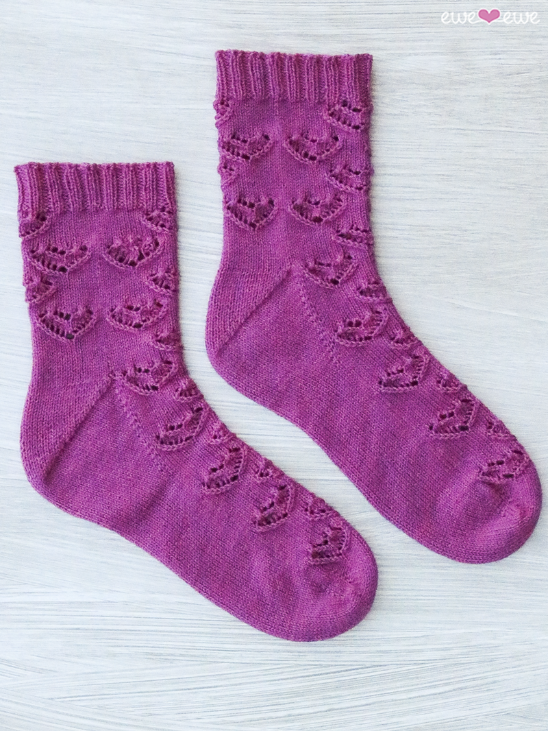 Ewe Heart Socks  knitting pattern designed by Meaghan Schmaltz using Fluffy Fingering yarn