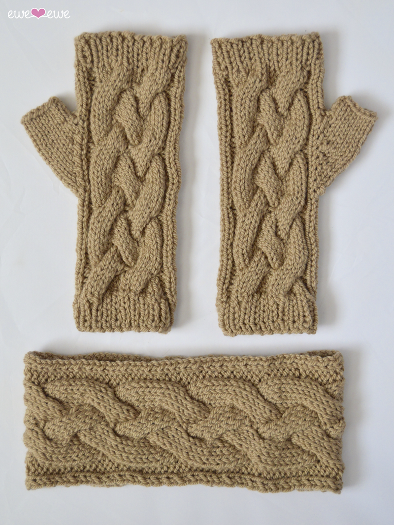 Chilly Headband + Mitts  in Wooly Worsted yarn by Ewe Ewe