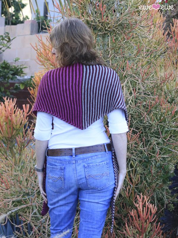 Something About Phoenix  easy striped shawl knitting pattern