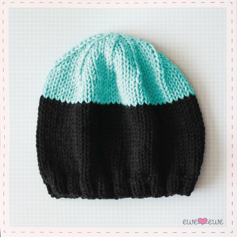 Black Dipped Beanie  FREE knitting pattern