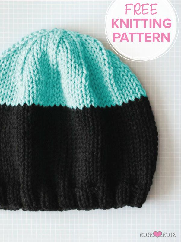 FREE knitting pattern:  Black Dipped Beanie  in  Baa Baa Bulky yarn