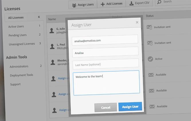 Adobe CC Admin panel