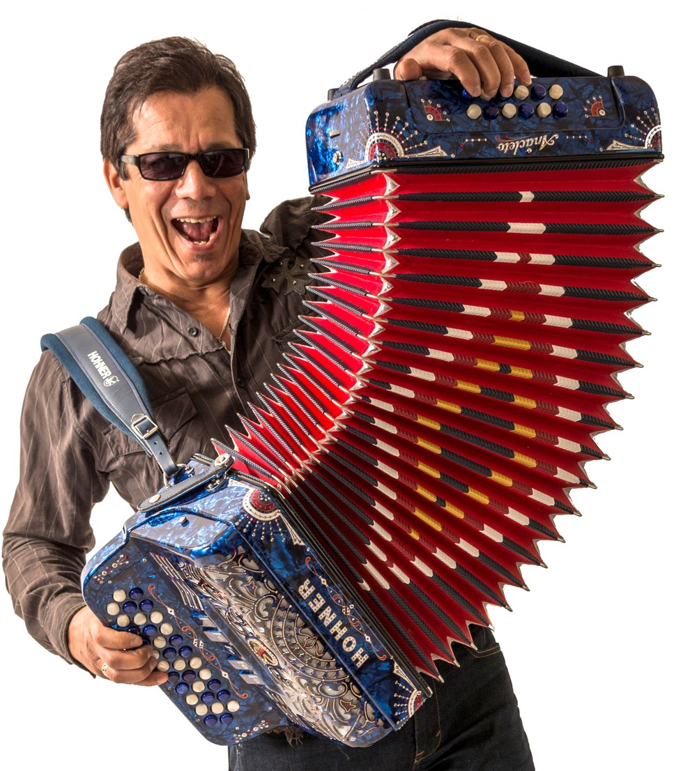 Joel Guzman preparing for his annual Squeezebox Mania event taken March 16, 2015, Austin, by  Mark Hiebert .