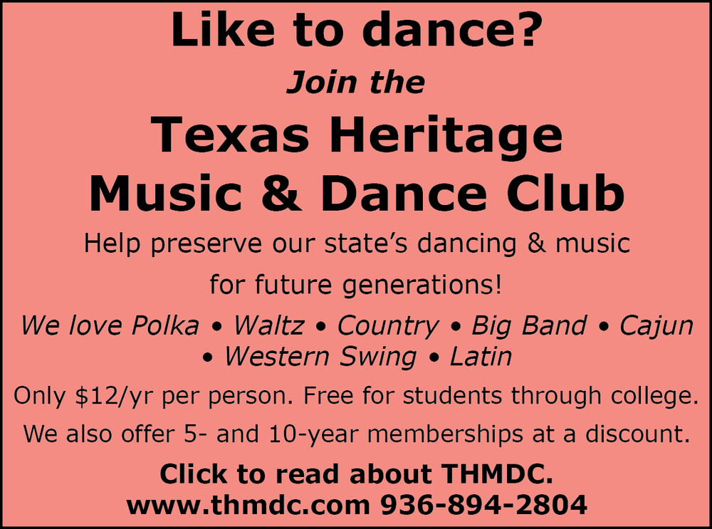 Save the date for our next club dance: Sunday, Oct 30! Dujka Brothers will provide the music at the American Legion Hall in Sealy.