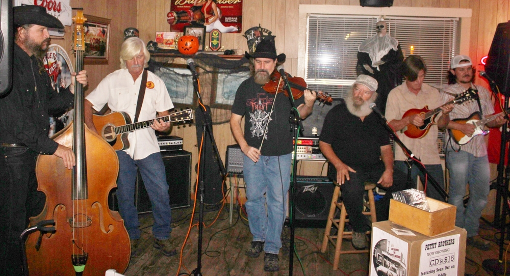 L-R: Brian Lux, Darryl Pettit, Sean Orr, Lonnie Pettit, Jim Schubert, and Chase Hrncir @ High Hill Store, Oct. 31, 2015./McKee photo
