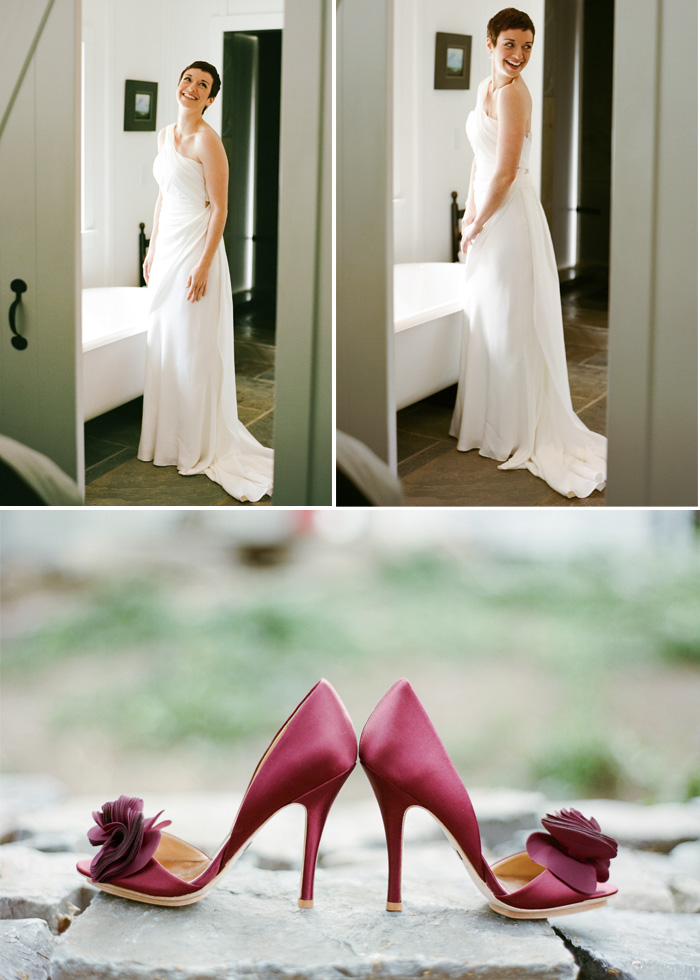 Rebecca paired her long, one-shoulder wedding dress with plum heels with a little flower on top of each of them.