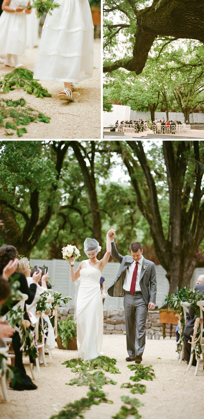 The large trees provided the perfect backdrop for the wedding. Once the ceremony over, the newlyweds walked down the aisle holding hands, smiling, and laughing.