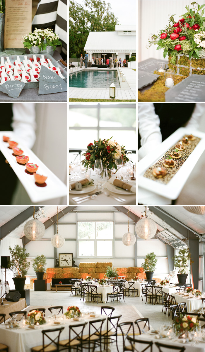 During the reception, guests had their choice of appetizers as they enjoyed the outdoor patio and pool. Dinner was served inside the barn, with high ceilings, large white lanterns, and long wooden tables.