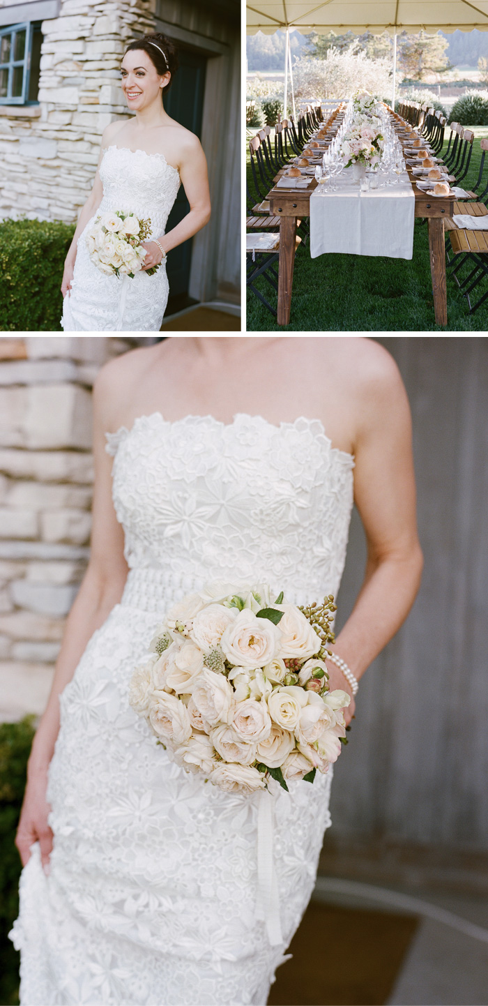 The bride's classic lace dress was perfectly complemented by her bouquet of pale pink and white roses.