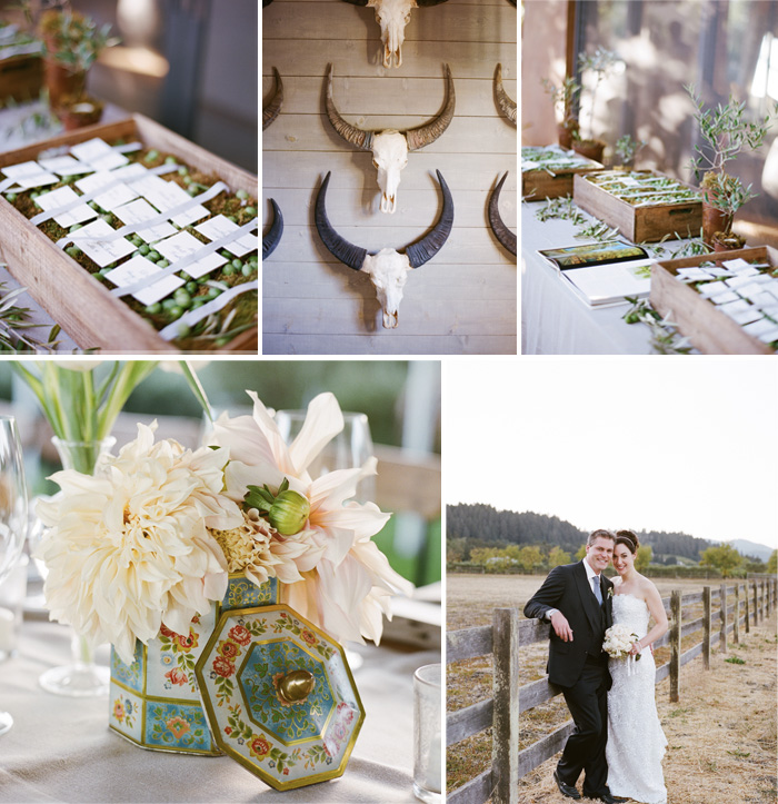 Name-cards were displayed in a lovely wooden box filled with moss, which matched the rest of the rustic chic wedding decor.