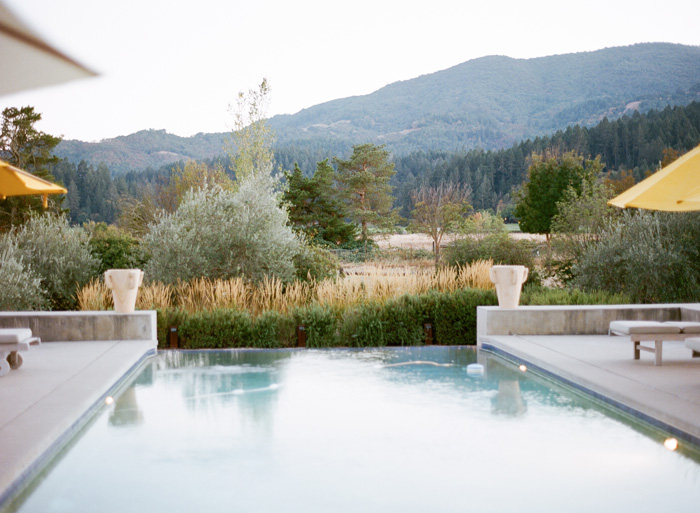 The reception area was complete with both a breathtaking view and an infinity pool.