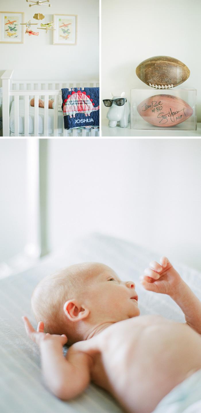 Sylvie-Gil-Family-Photography-newborn-baby-boy-crib-white-football-hippo-decoration-planes-hands.jpg