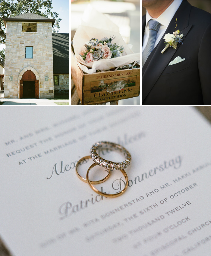 The attention to details was huge i this wedding: from the rings, to the invitation, to the boutonniere, to the box the wedding bouquet was delivered in, everything was beautifully accounted for. Perfect for a church wedding.