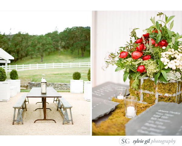 sylvie-gil-film-photography-wedding-outdoor-durham-ranch-details-long-wooden-tables-flowers-slate