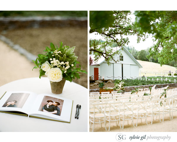 sylvie-gil-film-photography-wedding-outdoor-durham-ranch-details-ceremony-flower-petals-guestbook