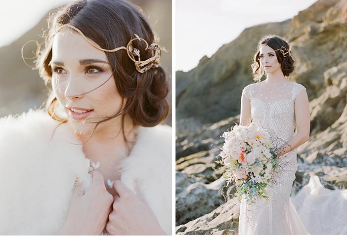 Sylvie-Gil-Wedding-Photography-Fine-Art-Film-International-Beach-gold-headpiece-white-fur-coat