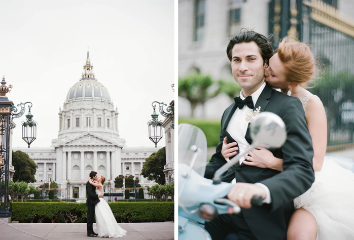 Bride and groom kiss outside San Francisco City Hall wedding; Sylvie Gil Photography