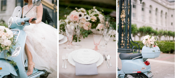 Bride in tulle and lace ball gown wedding dress on a Vespa scooter, reception table with pastel glassware and dusty pink florals; Sylvie Gil Photography