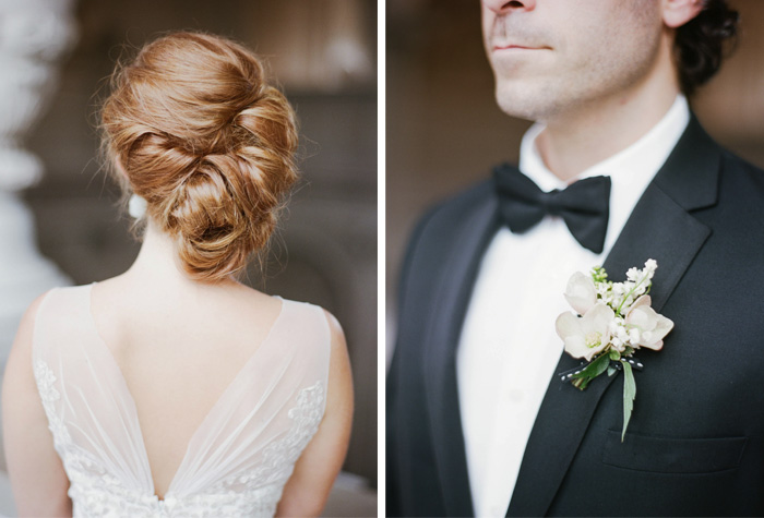 Bride's red hair in a romantic chignon, groom's dusty pink boutonniere; Sylvie Gil Photography