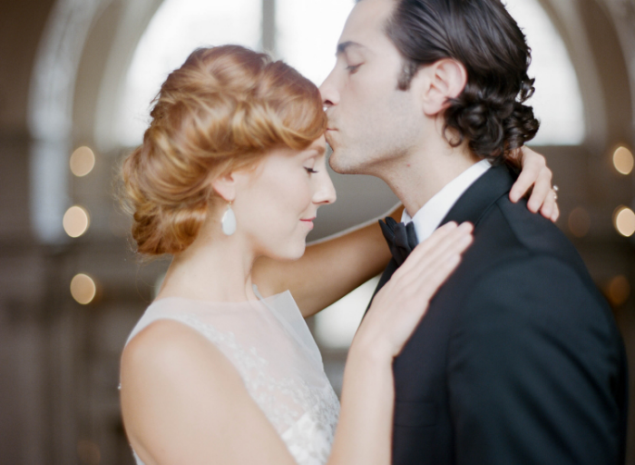 Red-haired bride and groom in San Francisco City Hall wedding; Sylvie Gil Photography