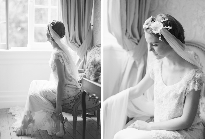 Black and white photographs of bride in vintage armchair in Normandy chateau;  Sylvie Gil Photography