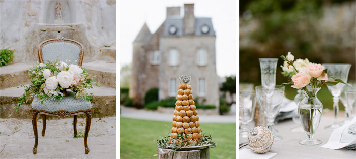 Traditional croquembouche wedding cake and elegant reception table outside Normandy chateau in France;  Sylvie Gil Photography