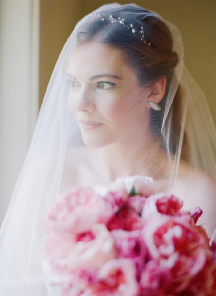 Sylvie-Gil-Film-Wedding-Photography-Napa-pink bouquet-wedding gown- veil