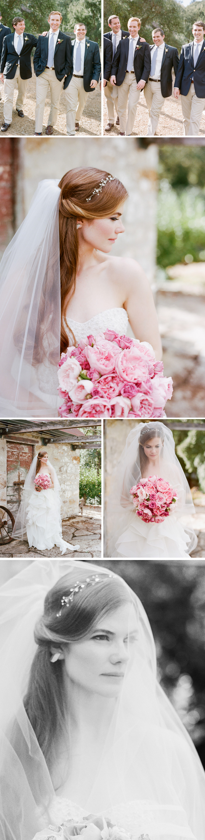 Sylvie-Gil-Film-Wedding-Photography-Napa-pink bouquet-wedding gown - beige and blue wedding suit- veil- destination-vineyard