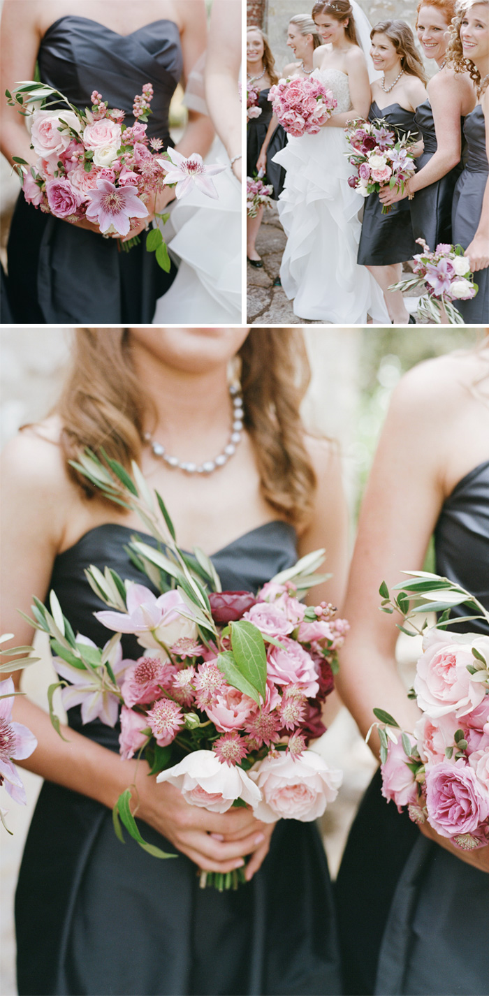 Sylvie-Gil-Film-Wedding-Photography-Napa-pink bouquet-wedding gown- bridesmaid-groommen-destination-vineyard