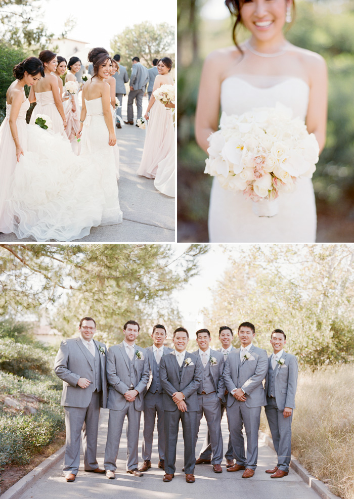 Sylvie-Gil-Film-Wedding-Photography-Shady Canyon- Wedding gown- wedding suit- bridesmaids- groommen-white bouquet