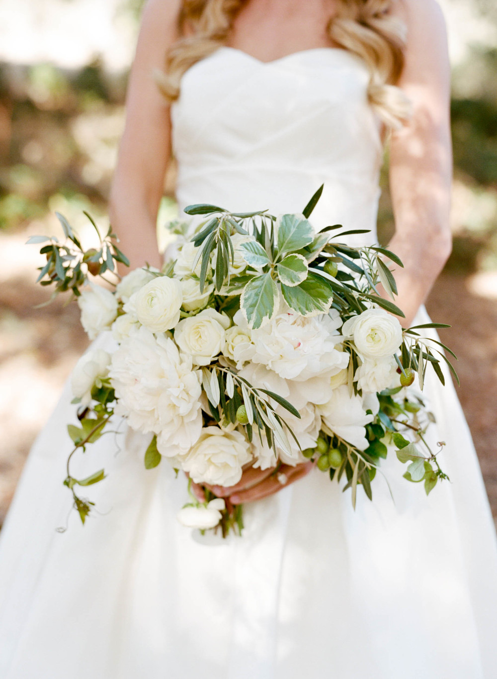 Bride's olive and white floral bouquet; Sylvie Gil Photography