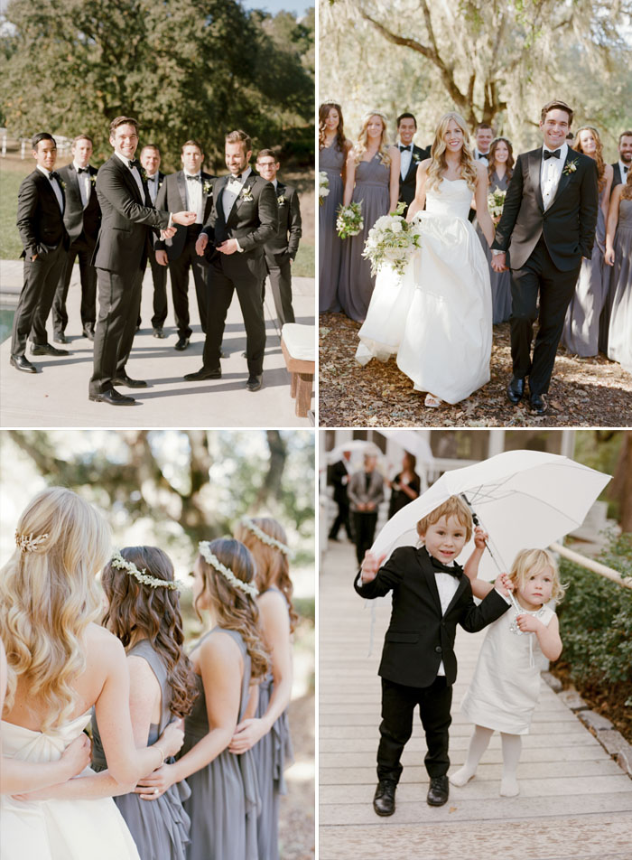 Groomsmen pose together, bridal party walks toward camera, toddler guests hold umbrella; Sylvie Gil Photography