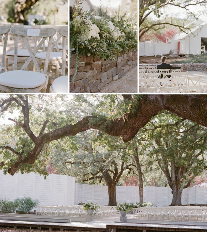 Rows of chairs for wedding ceremony set up under beautiful Napa oak trees; Sylvie Gil Photography