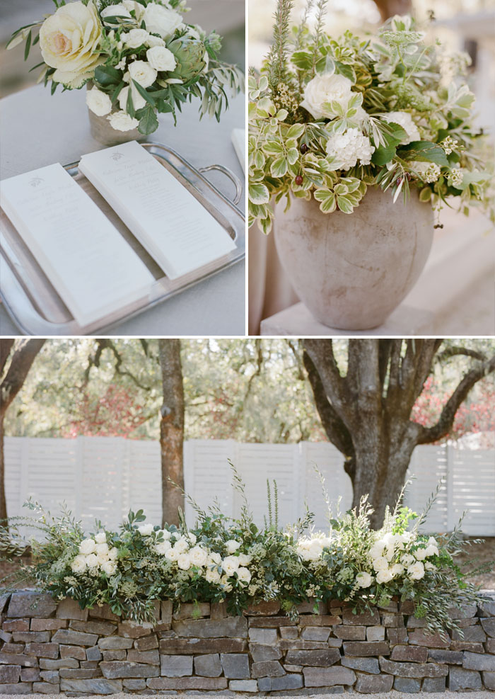 Ceremony program cards in a vintage tray, olive and cream florals in a cement planter; Sylvie Gil Photography
