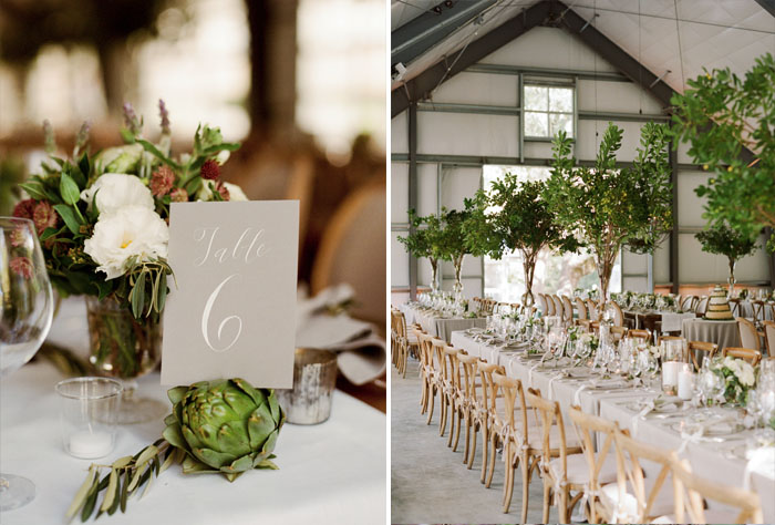Artichoke placecard holders, long tables in barn reception; Sylvie Gil Photography