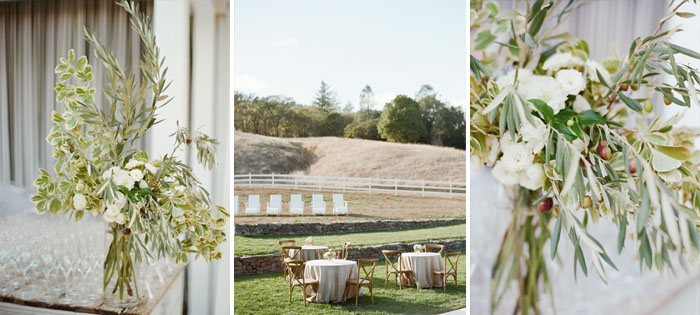 Olive-themed florals and centerpieces; Sylvie Gil Photography