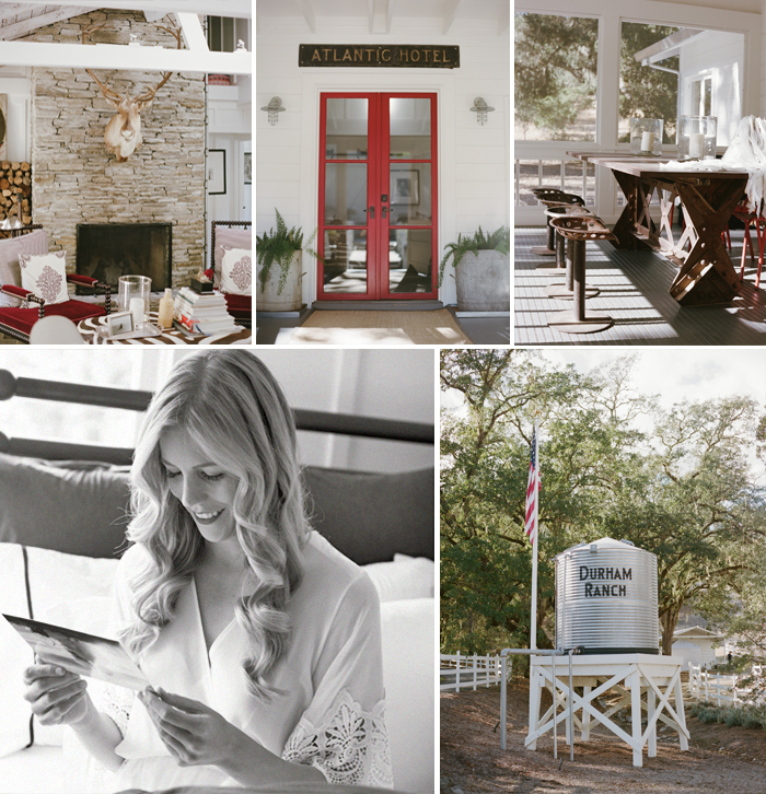 Bride reading letter, rustic Durham Ranch accent decor; Sylvie Gil Photography