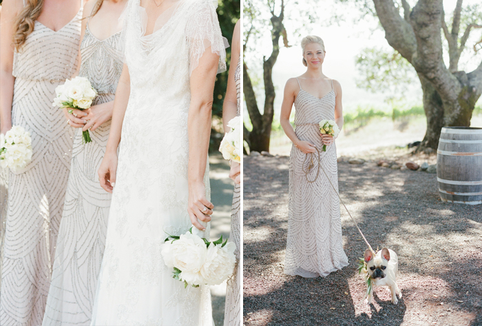 Sylvie-Gil-film-destination-photography-Kunde-winery-Napa-Valley-elegant-shabby-chic-cream-bridesmaids-gowns-French-bulldog