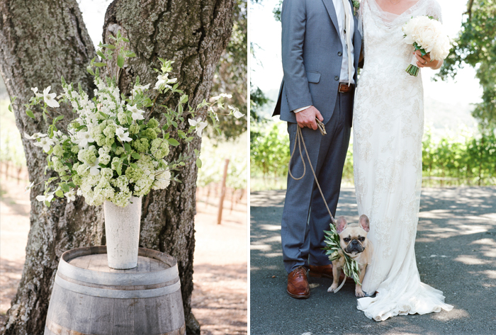 Sylvie-Gil-film-destination-photography-Kunde-winery-Napa-Valley-elegant-shabby-chic-barrel-floral-decoration-French-bulldog
