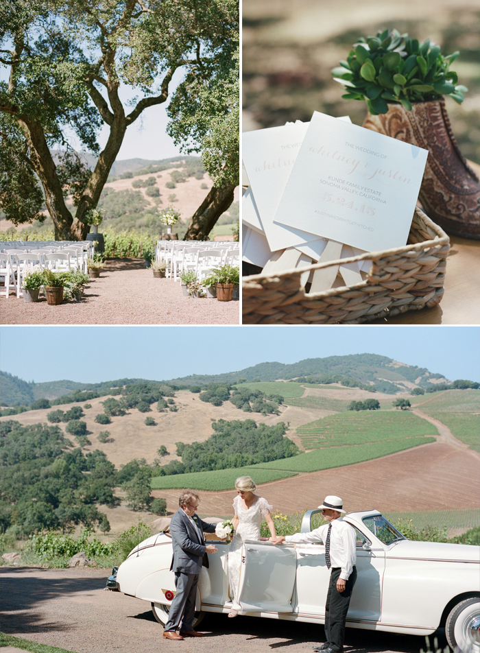 Sylvie-Gil-film-destination-photography-Kunde-winery-Napa-Valley-elegant-shabby-chic-ceremony-seating-assorted-planters-vintage-placecards-succulents