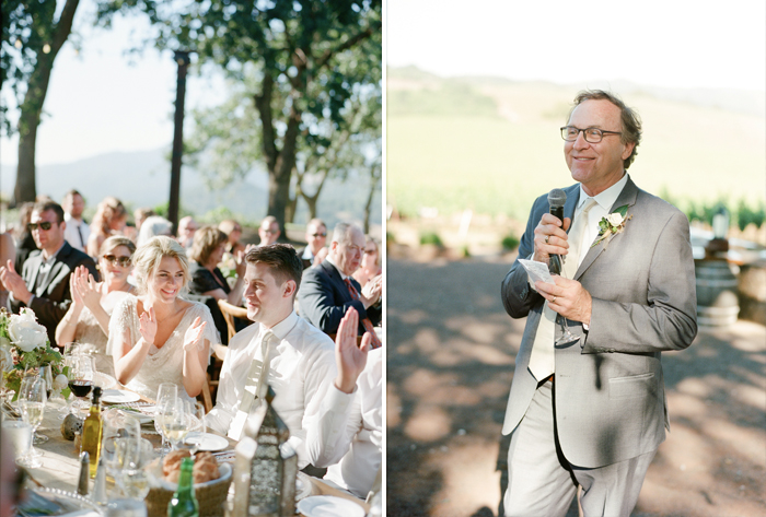Sylvie-Gil-film-destination-photography-Kunde-winery-Napa-Valley-elegant-shabby-chic-reception-toasts-father-bride