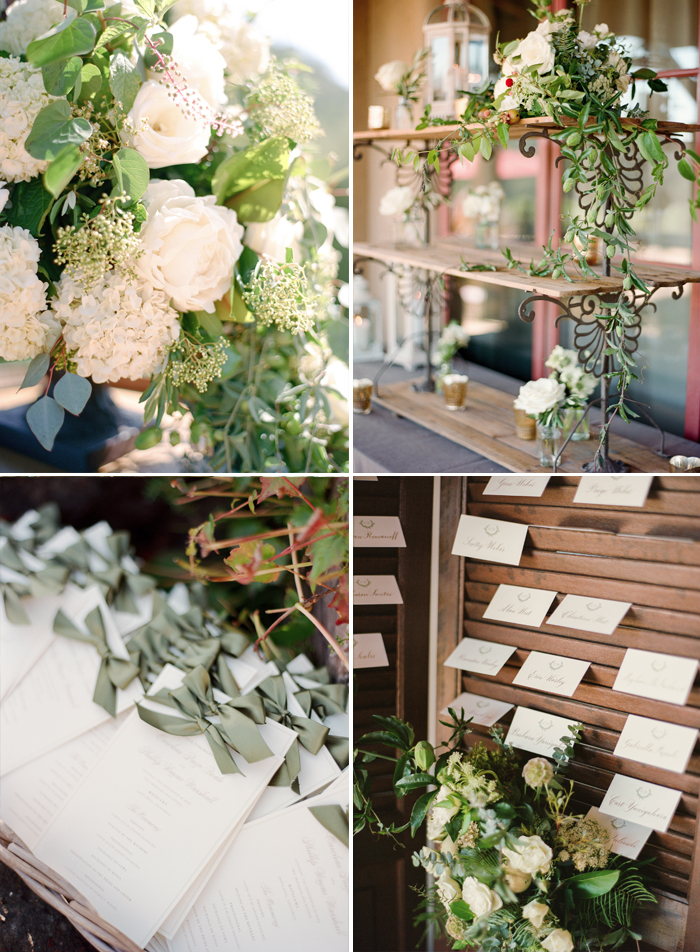 Accents from the reception space - window shutters hold the place cards, and olive bows are tied onto each menu; photo by Sylvie Gil