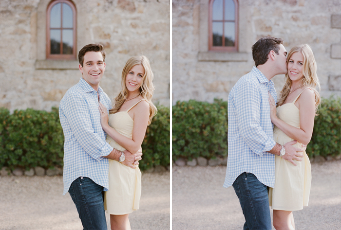 A groom-to-be kisses his fiancee at a Napa Valley winery  during an engagement session with Sylvie Gil.