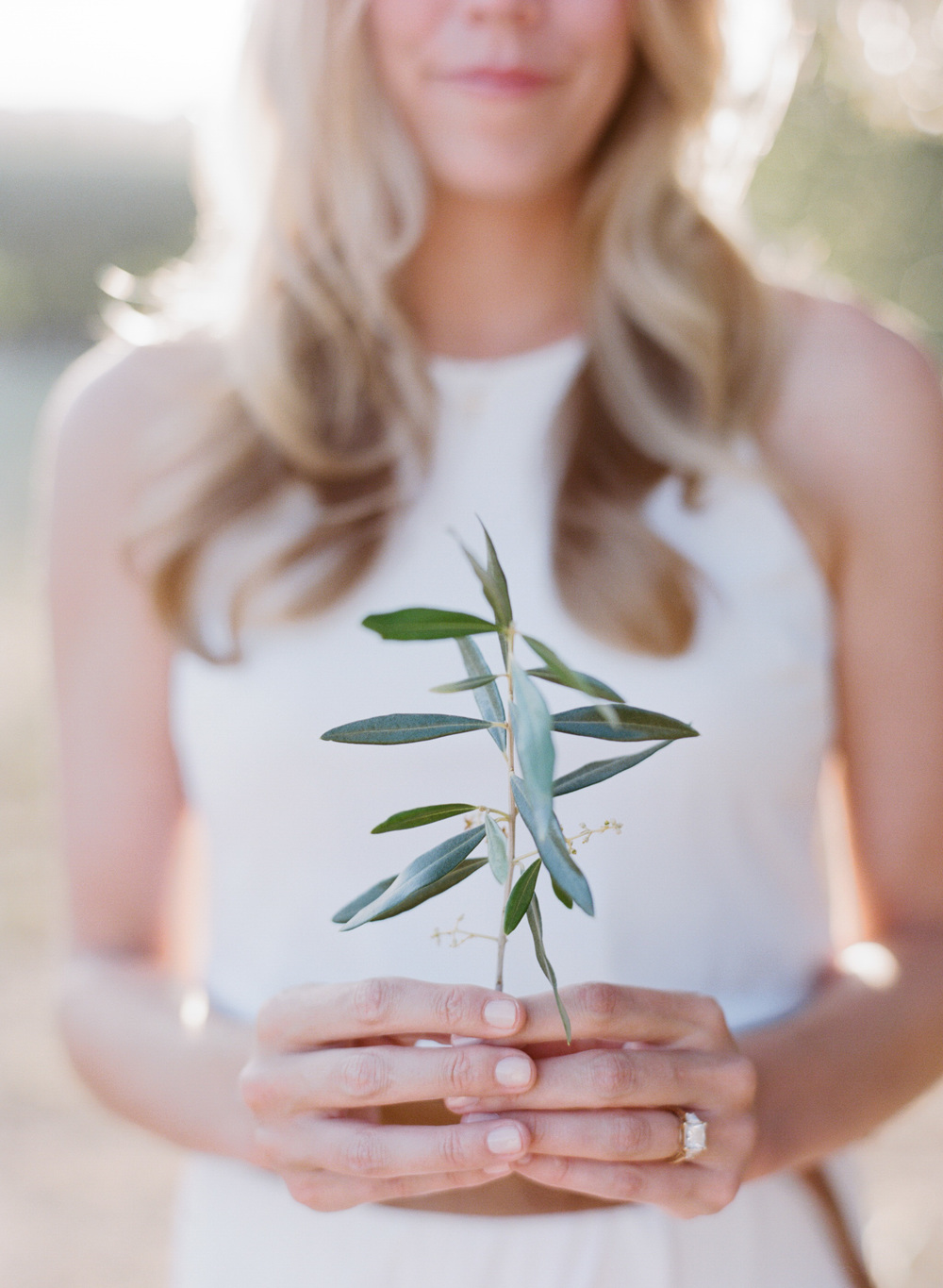 A bride-to-be holds an olive stem and displays her engagement ring at a Napa Valley winery  during an engagement session with Sylvie Gil.