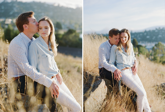 Couple shares a quiet moment in the hills of Tiburon  during an engagement session with Sylvie Gil.